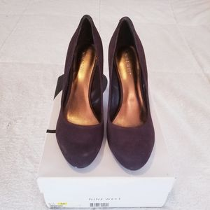 Nine West Enhancing Dark Brown Suede Heels 6.5